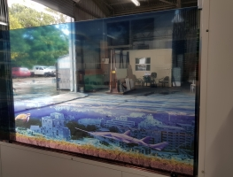 Underwater City Digital Print Film Laminated Glass from Graphic Glass Services Qld