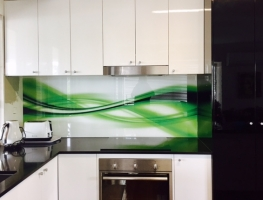Bright Green and Black Abstract Printed Splashback by Graphic Glass Services Qld