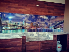 Custom Digitally Printed Outdoor Kitchen Splashback by Graphic Glass Services Qld