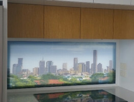 Brisbane City Skyline Glass Window Panel