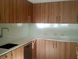 White Colourback Kitchen Glass Splashback