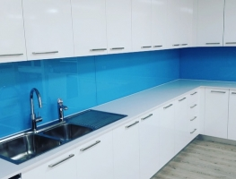 Blue Colourback Glass Splashback by Graphic Glass Services Qld