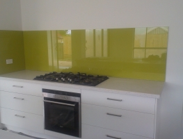 Colourback Glass Splashback in Honeybee by Graphic Glass Services Qld