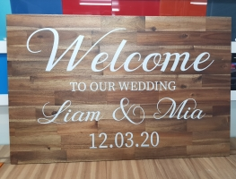Digital Printed Welcome Sign on Merbau Timber by Graphic Glass Services