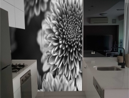 Black & White Flower Digital Printed on Cupboard Doors