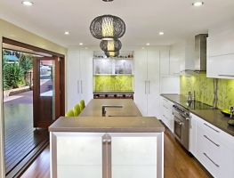 Digitally Printed Bamboo Glass Splashback and Frosted Glass Door Inserts by Graphic Glass Services Qld