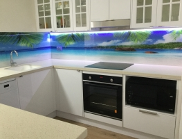 Ocean View Digital Printed Glass Splashback with LED lights by Graphic Glass Services