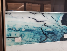 Aqua Marble Digital Printed Glass Splashback by Graphic Glass Services