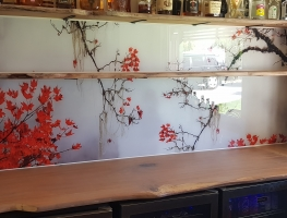 Foggy Japanese Maple Digital Printed Glass Splashback by Graphic Glass Services