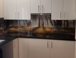 Glass Digital Printed Splashback - Suns Rays Seen Through the Trees