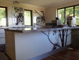 Digitally Printed Tree Glass Splashback by Graphic Glass Services Qld
