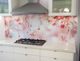 Cherry Blossom Digital Printed Splashback by Graphic Glass Services