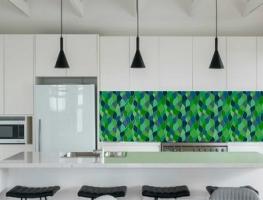 Digital Printed Glass Splashback Leaf Pattern