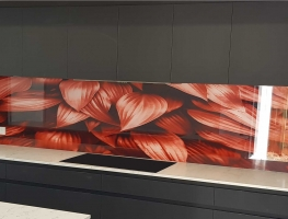 Copper Tone Leaves Digital Printed Glass Splashback