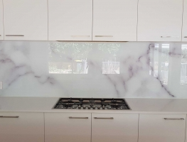 Marble Pattern Digital Printed Glass Splashback by Graphic Glass Services