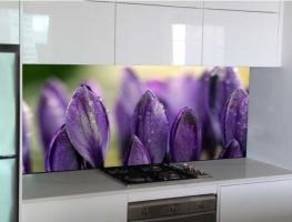 Purple Tulip Digital Printed Glass Splashback