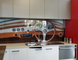 Digitally Printed Porsche Glass Splashback by Graphic Glass Services Qld