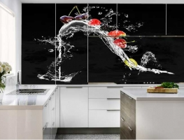 Digital Printed Kitchen Cupboards with Glass Splashback Strawberry & Cherry Splash