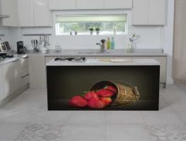 Strawberry Bucket Digital Print on Glass Splashback by Graphic Glass Services
