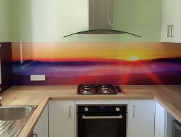 Sunset on a Foggy Mountain digital printed glass splashback by Graphic Glass Services Qld