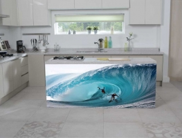 Surf's Up Digital Print on Glass Splashback by Graphic Glass Services