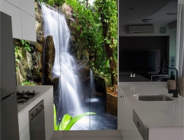 Digital Printed Kitchen Cupboard Doors with Waterfall effect