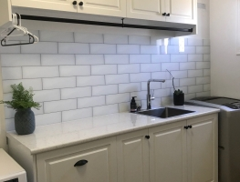Digital Printed Subway Tile Patterns Glass Splashback  by Graphic Glass Services