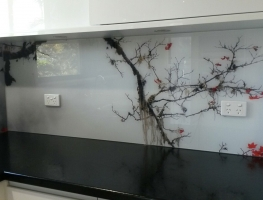 Digitally Printed Cherry Blossom Splashback by Graphic Glass Services Qld