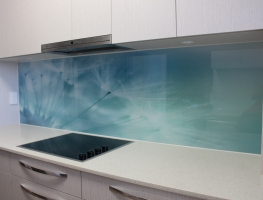 Digitally Printed Dandelion Glass Kitchen Splashback by Graphic Glass Services Qld