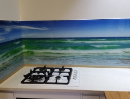 Digitally Printed Beach Landscape Glass Splashback by Graphic Glass Services Qld
