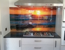 Digitally Printed Splashback - Beach Sunset by Graphic Glass Services