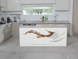Coffee Spill Digital Print on Glass Splashback by Graphic Glass Services