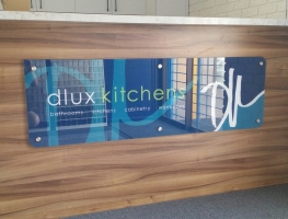 DLUX Kitchens counter sign by Graphic Glass Services Qld
