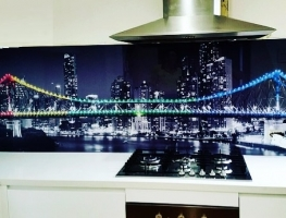 Digitally Printed Story Bridge Glass Splashback by Graphic Glass Services Qld