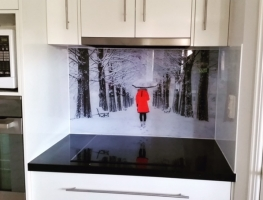 Digitally Printed Girl in Snow Glass Splashback by Graphic Glass Services Qld