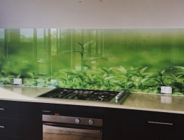 Custom Green Tea Digitally Printed Kitchen Glass Splashback by Grahic Glass Services Qld