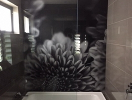 Digitally Printed Bathroom Panel by Graphic Glass Services Qld