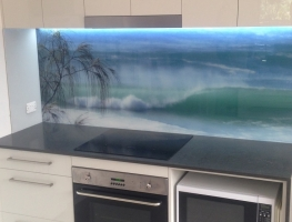 Digitally Printed Beach Scene Glass Splashback by Graphic Glass Services