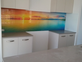 Digitally Printed Rainbow Sunset Splashback by Graphic Glass Services Qld.