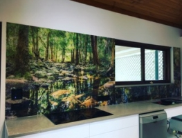 Rainforest Digitally Printed Glass Splashback by Graphic Glass Services Qld