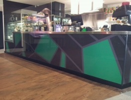 Digitally printed cafe counter by Graphic Glass Services Qld
