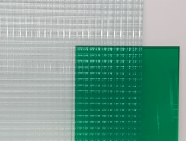 Green Laminated Reeded Glass by Graphic Glass Services
