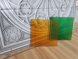 Narrow Reeded Coloured Laminated Glass by Graphic Glass Services