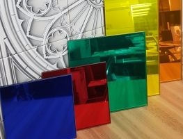 Coloured  Laminated Mirror by Graphic Glass Services