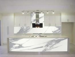 Matte Finish Printed Marble Glass Splashbacks by Graphic Glass Services