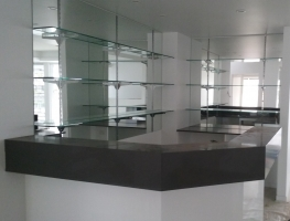 Mirror Wall with Glass Shelving by Graphic Glass Services Qld