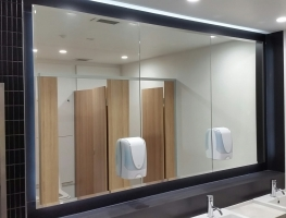 Commercial Bathroom Mirror with Bevelled Edge by Graphic Glass Services Qld