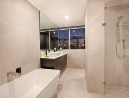 Bathroom mirror & Shower Screen by Graphic Glass Services