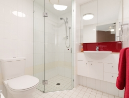 Colourback Glass Splashback, Shower Screen and Vanity Mirror by Graphic Glass Services Qld
