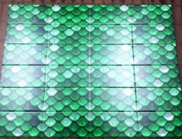 Green-Scale-Pattern-Printed-Ceramic-Subway-Tiles by Graphic Glass Services